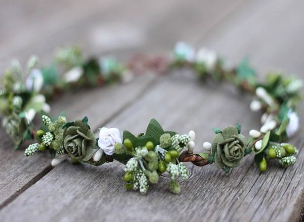 Eucalyptus Flower Crown Olive Green Wedding Flower Crown White